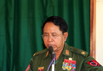 Myanmar's Information Minister Brigadier General Kyaw Hsan speaks to the media in Mone Town
