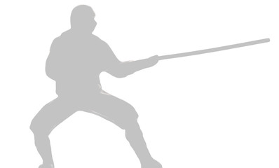 silhouette of a ninja with a stick in his hand