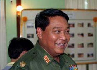 Myanmar police chief Brigadier General Khin Yi speaks to media in Hpa-an, east of Yangon