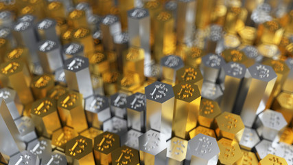 3d rendering golden and silver coins and hexagons