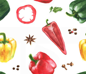 Hand drawn watercolor seamless pattern with red, yellow and green peppers on the white background.