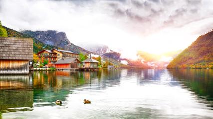 Idyllic autumn scene in Grundlsee lake in Alps mountains, Austria