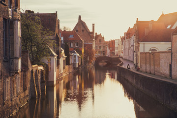 Wall Murals Bridges Historic city of Brugge at sunrise, Flanders, Belgium