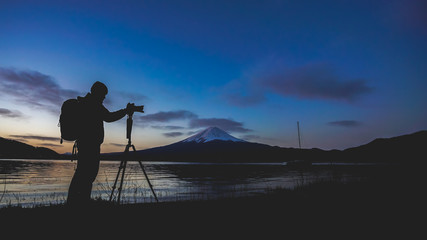 Photographer Silhouette At Fuji Mountain