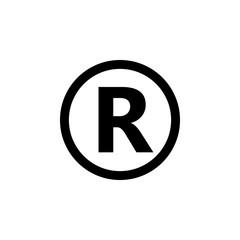 Registered Trademark symbol. Vector illustration, flat design.