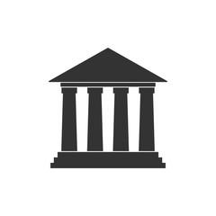 Court, bank building icon. Vector illustration, flat design.
