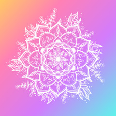 Round white mandala on dreamy gradient background. Vector hipster design in violet and pink colors. Mandala with floral patterns. Yoga template