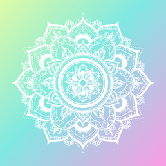 Round gradient mandala on gradient background. Vector boho mandala in green and pink colors. Mandala with floral patterns. Yoga template