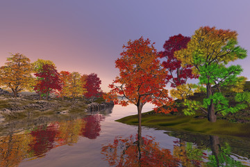 Beautiful nature, an autumn landscape, wonderful waters on the lake, red and yellow leaves in the trees and haze in the sky.