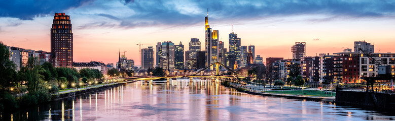 High resolution aerial panoramic view of Frankfurt, Germany after sunset. Wall mural