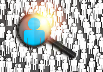 Searching for the best job candidate and people finder concept looking for the right person to stand out from the crowd.  Top pick and best choice for fitting the skillset that HR is looking for.