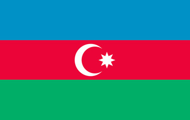 Flag of Azerbaijan, officially the Republic of Azerbaijan. Vector illustration of a stylized flag. The slit in the paper with shadows. Element for infographics. 10eps