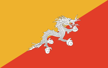 Bhutan flag vector illustration.