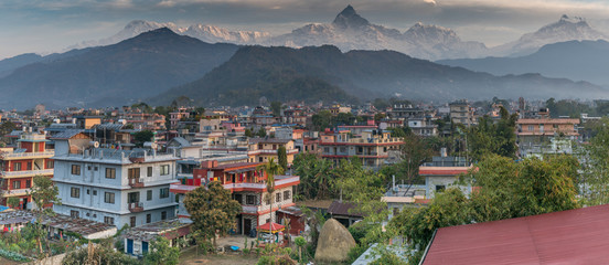 pokhara nepal with machapuchare in distance