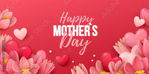 Happy Mothers Day Background With Flowers And Hearts Vector Illustration
