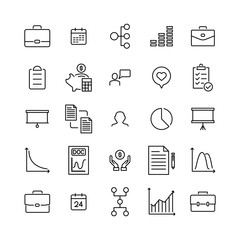 Set of management thin line icons