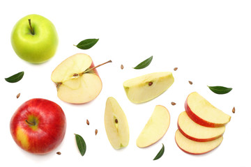 green and red apples with slices isolated on white background. top view
