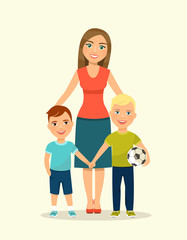 Mother with children. Vector flat style illustration