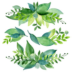Watercolor spring or summer elements of wreath, on white background. Coloured green leaves and berries