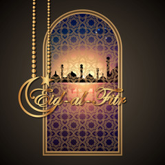 holiday Eid-Al-Fitr mubarak.  greeting card. vector illustration