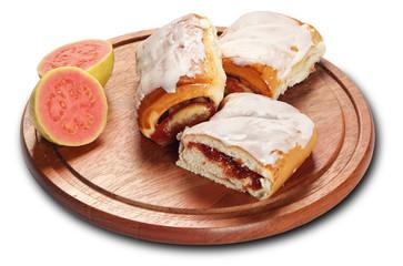 Bread with guava cream in white background
