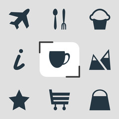 Vector illustration of 9 check-in icons. Editable set of market, legend, airplane and other icon elements.
