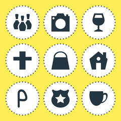illustration of 9 location icons. Editable set of shopping bag, cafe, house and other icon elements.