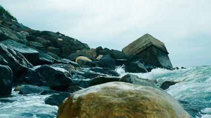 Rocks and ocean surf