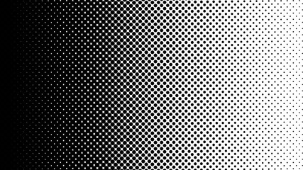 Gradient halftone dots background horizontal vector illustration. Black white dots halftone texture. Pop Art black white halftone pattern. Background of Art. AI10