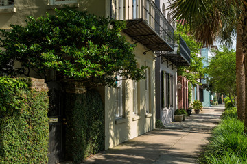 Quiet Summer Street - Summer morning view of one of many quiet, colorful and well-preserved historic streets in Downtown Charleston, South Carolina, USA.