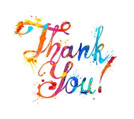 Thank You. Hand written font inscription of splash paint