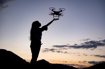 Drone use and detailed work for the female user