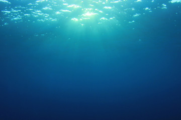 Underwater blue sea