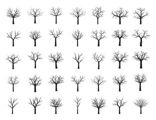 Set Black naked Trees without Leaves. Vector Illustration.
