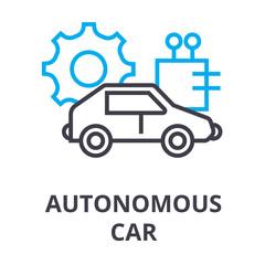 autonomous car thin line icon, sign, symbol, illustation, linear concept vector