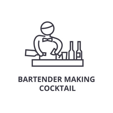bartender making cocktail thin line icon, sign, symbol, illustation, linear concept vector