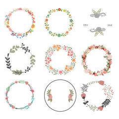 Vector illustration of flower wreath frame and decoration set