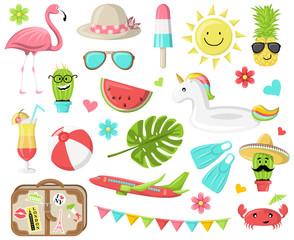 Sommer Ferien Icons Symbole Vektor Set bunt
