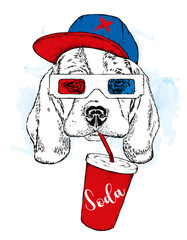 A dog in 3d glasses and a cap, with a glass of soda. Purebred puppy. Vector illustration.
