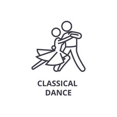 classical dance thin line icon, sign, symbol, illustation, linear concept vector