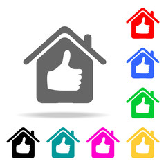house with a raised finger icon. Elements of real estate in multi colored icons. Premium quality graphic design icon. Simple icon for websites, web design, mobile app
