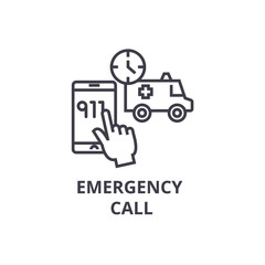 emergency call thin line icon, sign, symbol, illustation, linear concept vector