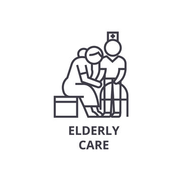 elderly care thin line icon, sign, symbol, illustation, linear concept vector