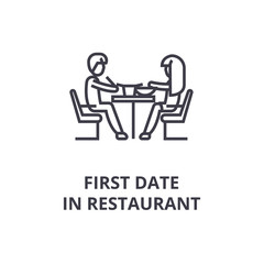 first date in restaurant thin line icon, sign, symbol, illustation, linear concept vector