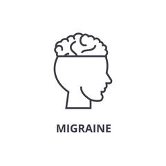 migraine thin line icon, sign, symbol, illustation, linear concept vector
