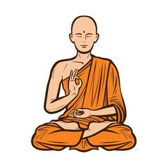 Buddhist in orange robe. Buddha, Buddhism concept. Cartoon vector illustration