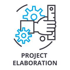 project elaboration thin line icon, sign, symbol, illustation, linear concept vector