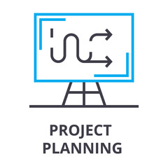 project planning thin line icon, sign, symbol, illustation, linear concept vector