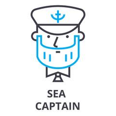sea captain thin line icon, sign, symbol, illustation, linear concept vector
