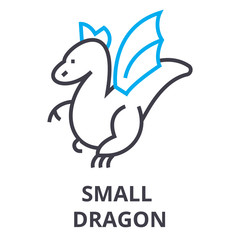 small dragon thin line icon, sign, symbol, illustation, linear concept vector